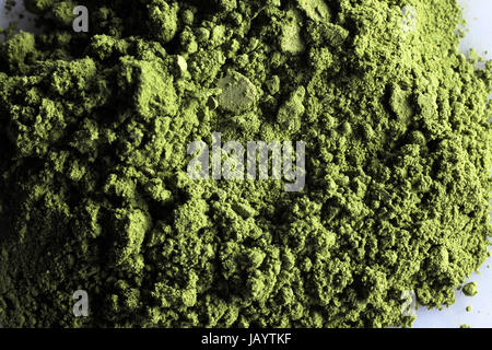 matcha powder green tea with white background - Stock Photo