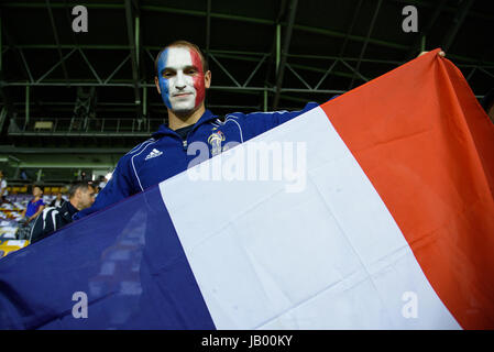 BARYSAW/BELARUS – SEPTEMBER 9, 2016: Supporter of France national football team in match against team of Belarus - Stock Photo