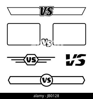 Versus Vector Symbol Set. VS Letters And Frames. Isolated On White Background. Competition Concept. - Stock Photo