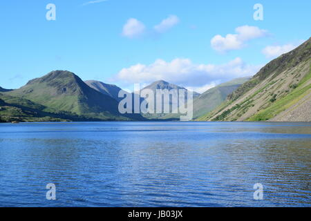Evening view over Wast Water towards Great Gable and Yewbarrow - Stock Photo