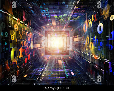Number Tunnel series. Composition of CPU chip, colorful numbers and fractal elements in perspective on the subject - Stock Photo