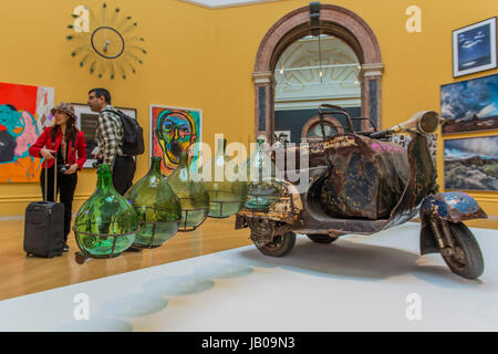 London, UK. 08th June, 2017. Petrol CArgo by Romauld Hazoume and other works in the Wohl Central Hall - The Royal - Stock Photo
