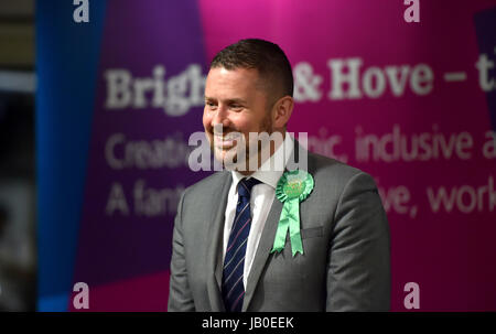Brighton, UK. 9th June, 2017. Phelim MacCafferty the prospective Green Party candidate for Hove at the counts for - Stock Photo