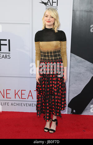 Hollywood, Ca., USA. 8th June, 2017. Emma Stone at the American Film Institute Gala honoring Diane Keaton with the - Stock Photo