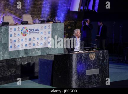 United Nations, New York, USA, June 08 2017 - Sir Richard Branson Founder of the Virgin Group speaks during the - Stock Photo
