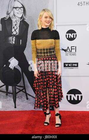 Los Angeles, CA, USA. 8th June, 2017. Emma Stone at arrivals for 2017 AFI Life Achievement Award Gala Honoring Diane - Stock Photo