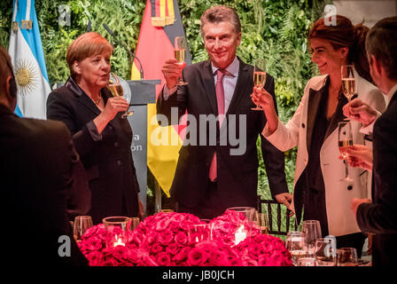 Buenos Aires, Argentina. 08th June, 2017. German Chancellor Angela Merkel (CDU, C) stands next to Argentina's President - Stock Photo