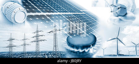 Electricity pylons, wind turbines and solar panel with plug, gas flame and heating thermostat - Stock Photo