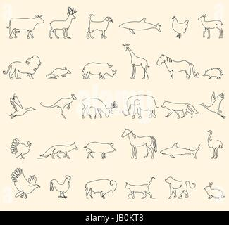 One line animals set, logos. vector stock illustration. Turkey and cow, pig and eagle, giraffe and horse, dog and - Stock Photo