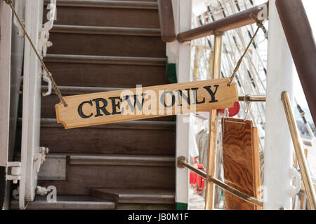 sign of crew only - Stock Photo