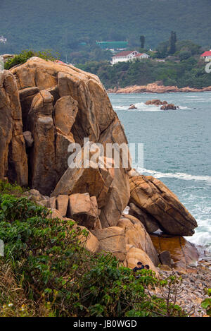 Shek-O Coastline and South China Sea, Hong Kong - Stock Photo