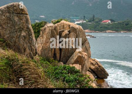 Shek-O Coastline and South China Sea, Hong Kong - Stock Photo