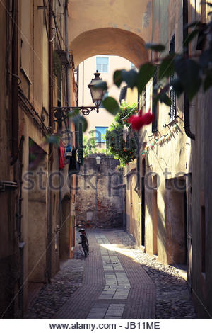 Colorful small street in Italy - Stock Photo