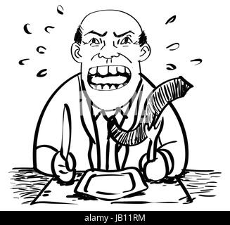 Cartoon of Hungry Businessman was angry and waiting food-Drawing Vector - Stock Photo