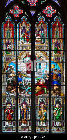 Stained glass window. The St Paul Window  showing Saint Paul's conversion on the road to Damascus, Cologne Cathedral - Stock Photo