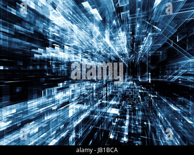 City Lights series. Backdrop composed of technological fractal textures and suitable for use in the projects on - Stock Photo