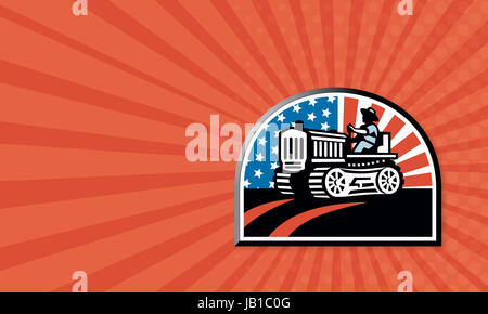 Business card template showing illustration of a farmer plowing the field with his vintage tractor done in retro - Stock Photo