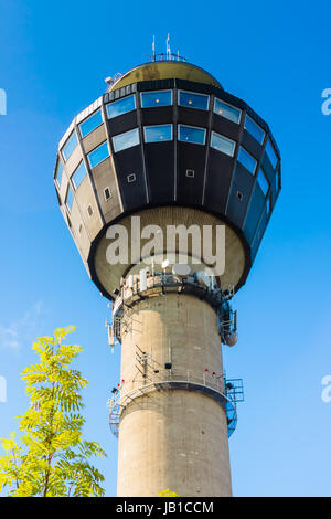 The Puijo tower is a 75 metres (246 ft) high observation tower in Kuopio, Eastern Finland.[ - Stock Photo