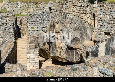 temple of the condor Machu Picchu, Incas ruins in the peruvian Andes at Cuzco Peru - Stock Photo