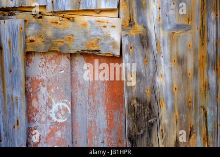 old weathered wooden gate, sardinia, italy - Stock Photo