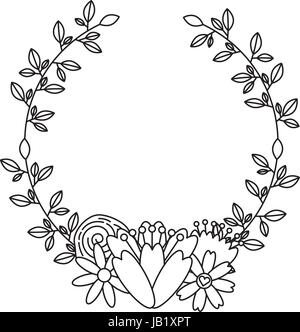 wreath with flowers decorative icon - Stock Photo
