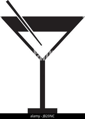 black icon cocktail cartoon - Stock Photo