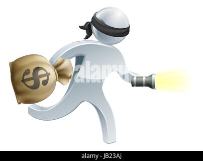 Burglar or thief with face mask running off with a big sack of money and a torch or flashlight - Stock Photo