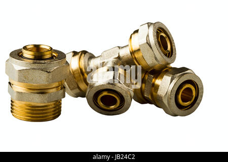 pipe fittings isolated on white background - Stock Photo