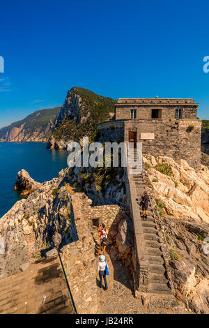 Italy Liguria Portovenere view from San Pietro Church - Stock Photo