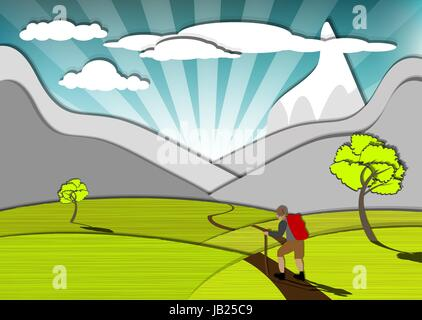Magnificent view of the wanderer and the mountains, eps10 vector - Stock Photo