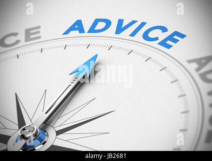 Compass with needle pointing the word advice concept of business consultant, blue and beige tones, blur effect with - Stock Photo
