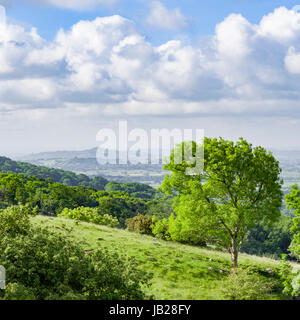 The view from the top of Cheddar Gorge in Somerset, looking across the Somerset Levels towards Glastonbury Tor, - Stock Photo