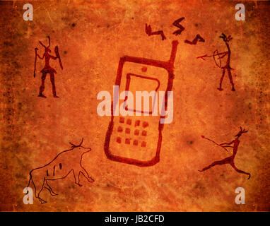 prehistoric paint background with mobile phone - Stock Photo