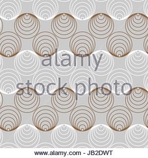 graphic circles ribbons seamless pattern in silver and gold - Stock Photo