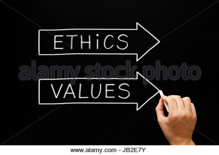 Hand sketching Ethics and Values arrows concept with white chalk on a blackboard. - Stock Photo