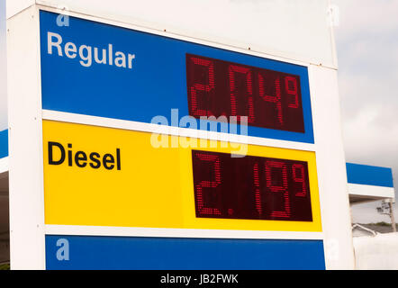 Gas station sign advertising very low prices at a gasoline station. - Stock Photo