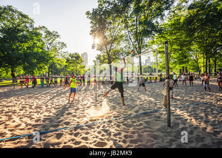 A beach volleyball in Central Park, New York City - Stock Photo