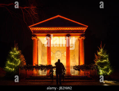 The illuminated temple and suspended globe at Blenheim Palace's Christmas lights.  December 2016 December 2016 - Stock Photo