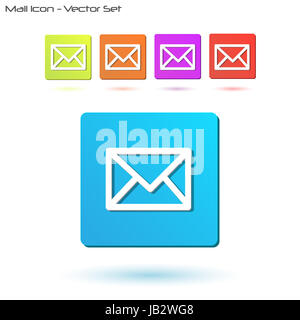 Image of various colorful mail icons isolated on a white background. - Stock Photo