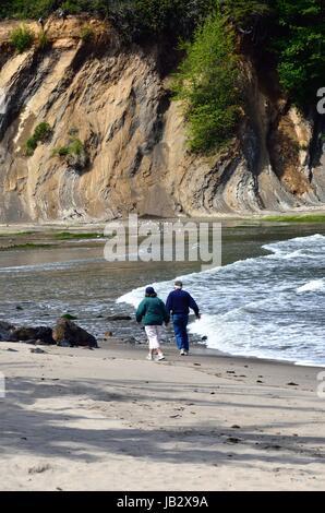 Elderly Couple Walking On Beach In Sunset Bay State Park, Oregon - Stock Photo