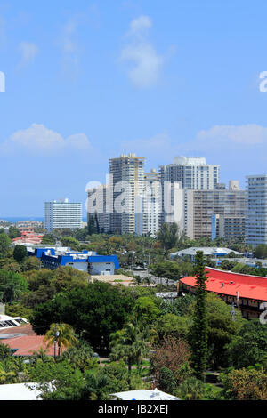 FORT LAUDERDALE, FLORIDA - APRIL 16, 2013:  Aerial view of many tall residential condominiums and other commercial - Stock Photo