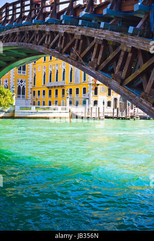 View of Academia Bridge bridge over Grand Canal in Venice - Stock Photo
