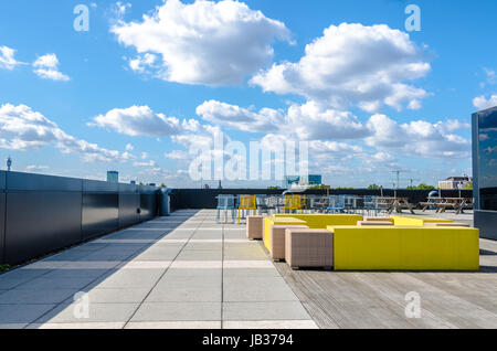 Modern office terrace and rest area on the rooftop at Angel in London - Stock Photo