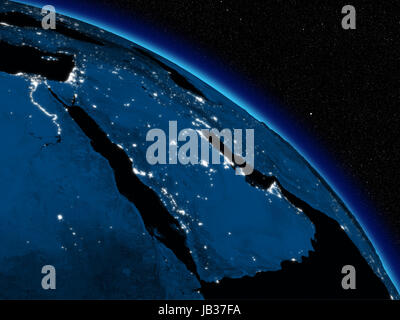 Arabian peninsula at night on planet Earth viewed from space. Highly detailed planet surface with city lights. Elements - Stock Photo