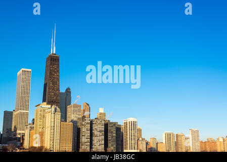 View of Chicago skyscrapers with a beautiful deep blue sky - Stock Photo