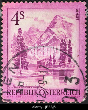 AUSTRIA - CIRCA 1973: A postage stamp printed in the Austria shows mountain lake Almsee, circa 1973 - Stock Photo