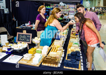 Miami Florida Tamiami Park Miami-Dade County Youth Fair & Exposition vendor display natural soaps handmade goat's - Stock Photo