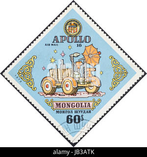 MONGOLIA - CIRCA 1973: A postage stamp printed in the Mongolia shows Self propelled vehicle Rover on Moon surface, - Stock Photo