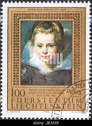 LIECHTENSTEIN - CIRCA 1985: postage stamp printed in the Liechtenstein shows Portrait of daughter Clara by Rubens - Stock Photo