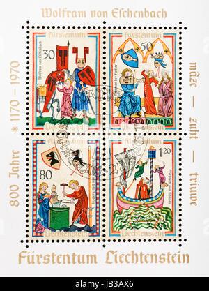 LIECHTENSTEIN - CIRCA 1970: postage stamp printed in Liechtenstein shows illustrations dedicated to german poets - Stock Photo